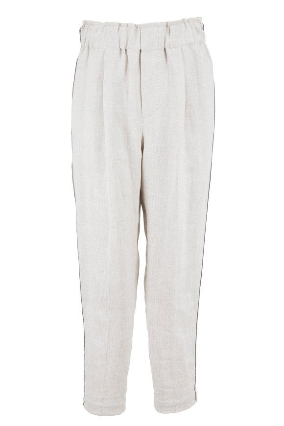Brunello Cucinelli Plaster Rustic Linen Monili Side-Striped Pant