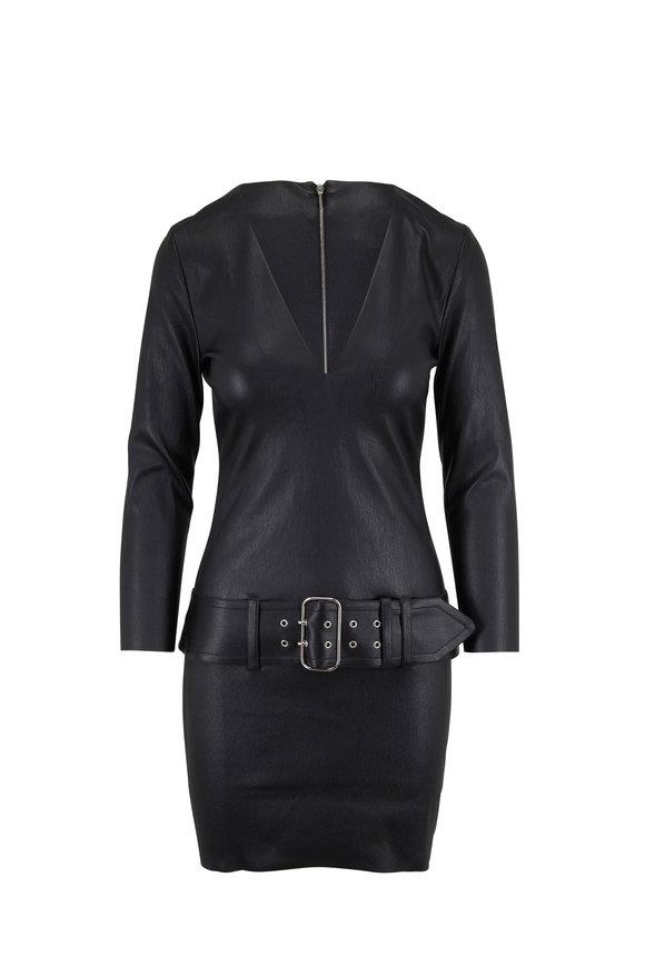 Jitrois Arizona Black Leather Belted Long Sleeve Dress