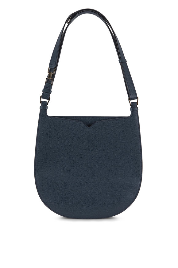 Valextra Weekend Petrol Blue Saffiano Convertible Hobo Bag
