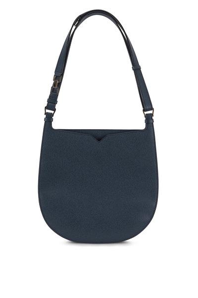 Valextra - Weekend Petrol Blue Saffiano Convertible Hobo Bag