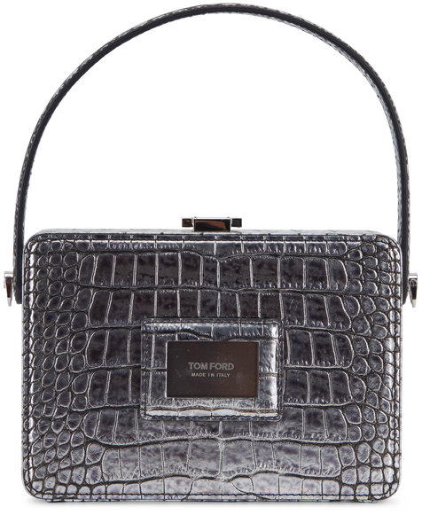 Tom Ford Antique Silver Embossed Leather Box Bag