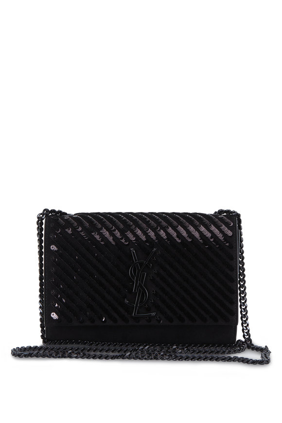 Saint Laurent Kate Black Suede & Tonal Pailette Crossbody Bag