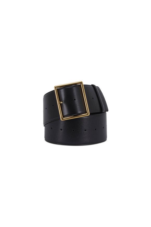 Saint Laurent Black Leather & Gold-Toned Buckle Wide Belt