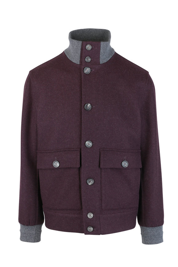 Brunello Cucinelli Burgundy & Gray Wool Bomber Jacket