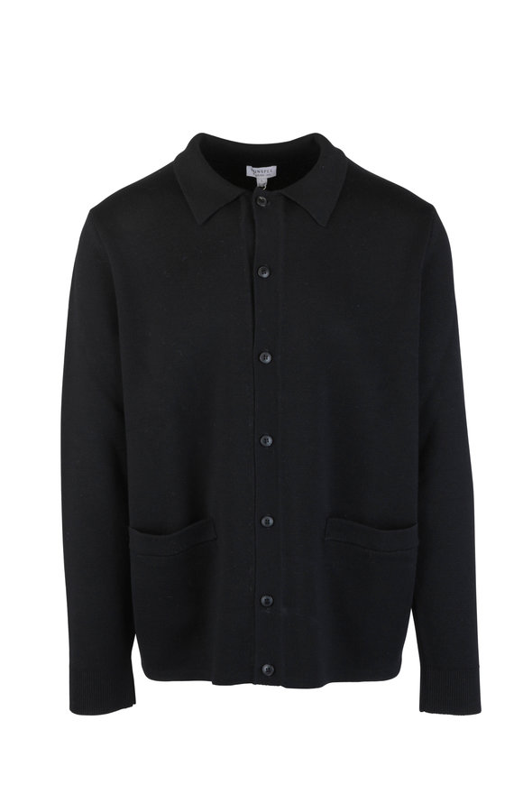 Sunspel Black Wool Knit Jacket