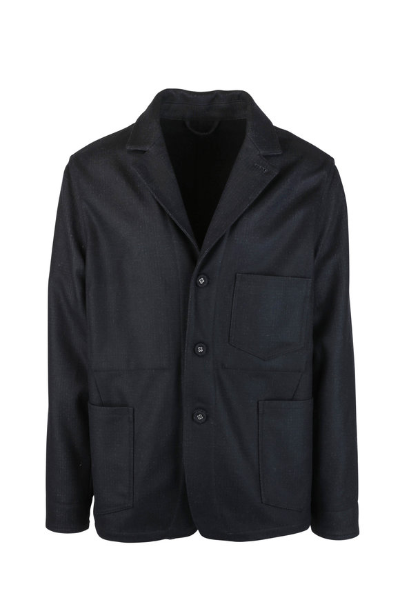 Officine Generale Aris Charcoal Gray Wool Blend Jacket