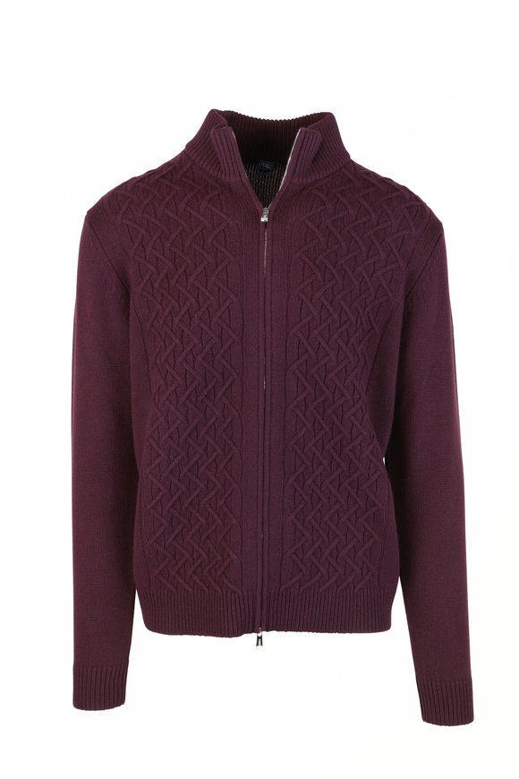 Fedeli Burgundy Cable Knit Cashmere Zip Sweater