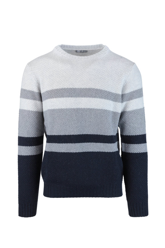 Fradi Gray Striped Wool Blend Sweater