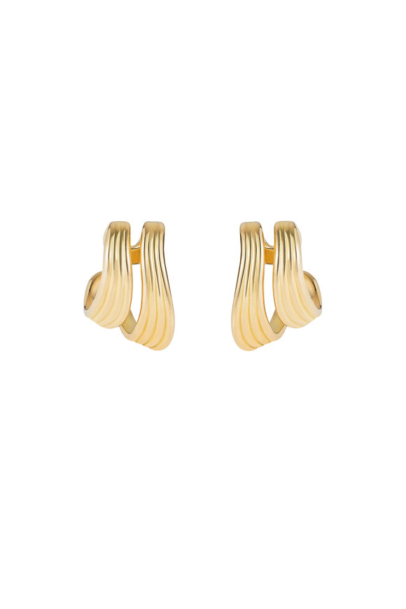 Fernando Jorge 18K Yellow Gold Stream Line Doubled Hoop Earrings