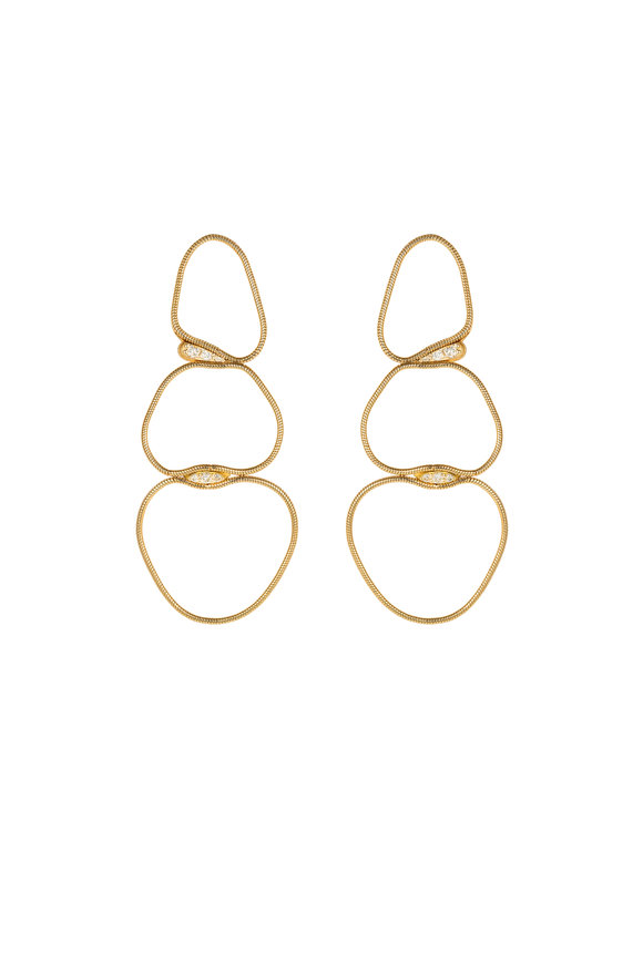 Fernando Jorge 18K Yellow Gold Medium Fluid Diamond Earrings