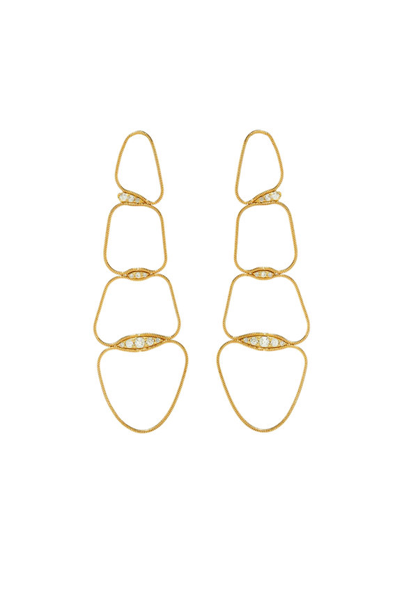 Fernando Jorge 18K Yellow Gold Fluid Diamond Chain Earrings