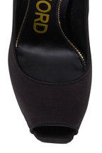 Tom Ford - Black Satin Platform Peep Toe Heel, 125mm