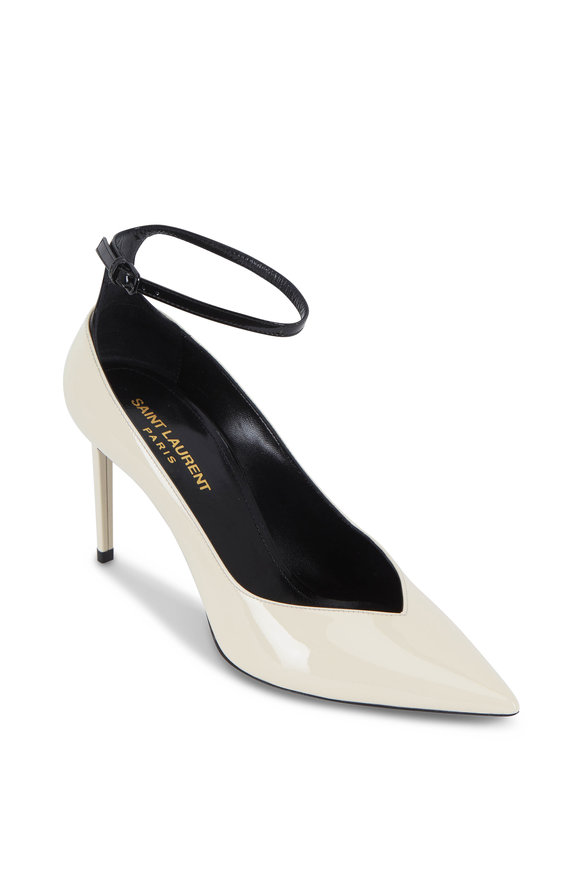 Zoe Cream & Black Patent Leather Pump ,85mm