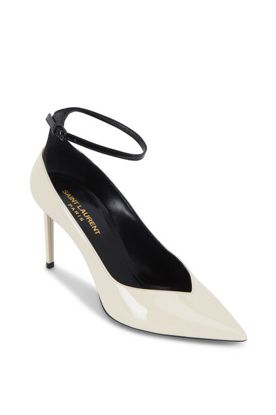 Saint Laurent - Zoe Cream & Black Patent Leather Pump ,85mm