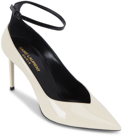 Saint Laurent Zoe Cream & Black Patent Leather Pump ,85mm