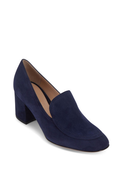 Gianvito Rossi - Navy Suede Chunky Heel Loafer, 60mm