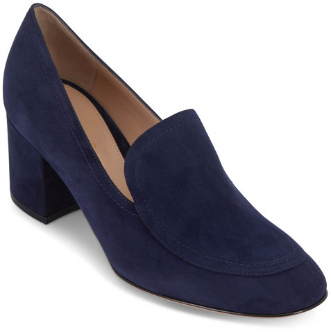 Gianvito Rossi Navy Suede Chunky Heel Loafer, 60mm