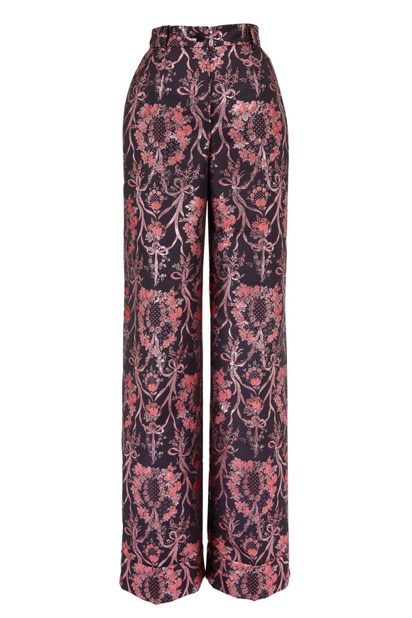 Dolce & Gabbana Black & Metallic Pink Jacquard High-Rise Pant