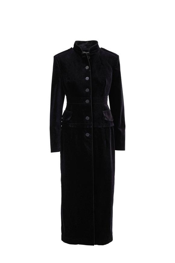 Tom Ford Black Velvet Long Button Front Coat