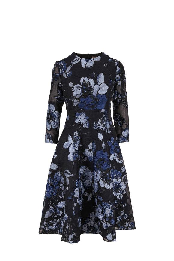 Lela Rose Black Sapphire Three-Quarter Sleeve Dress