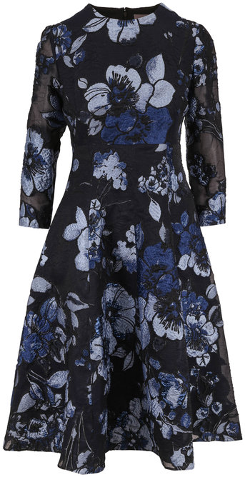 Lela Rose Black Sapphire Three-Quarter Sleeve Dress