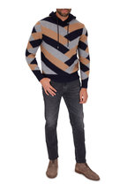 Moncler - Navy & Taupe Colorblock Stripe Hoodie