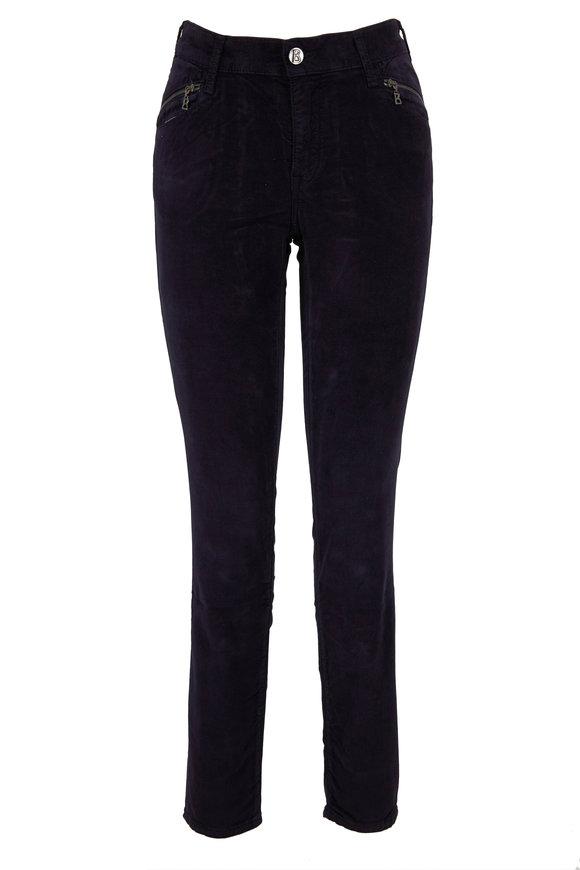 Bogner Greta Navy Blue Velvet Zip Pocket Jean