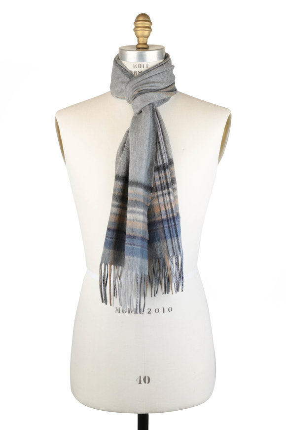 Alex Begg Aaran Gray, Tan & Blue Striped Cashmere Scarf
