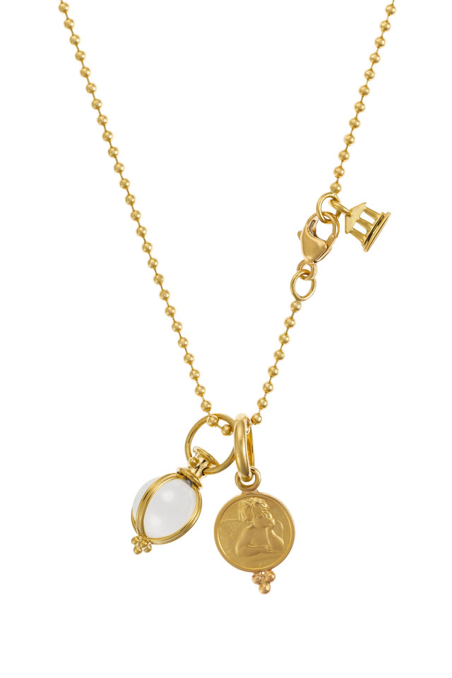 18K Yellow Gold Angel & Crystal Egg Charm Necklace