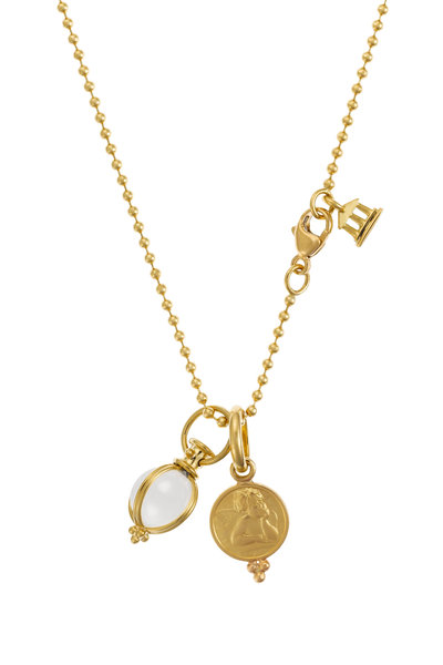 Temple St. Clair - 18K Yellow Gold Angel & Crystal Egg Charm Necklace