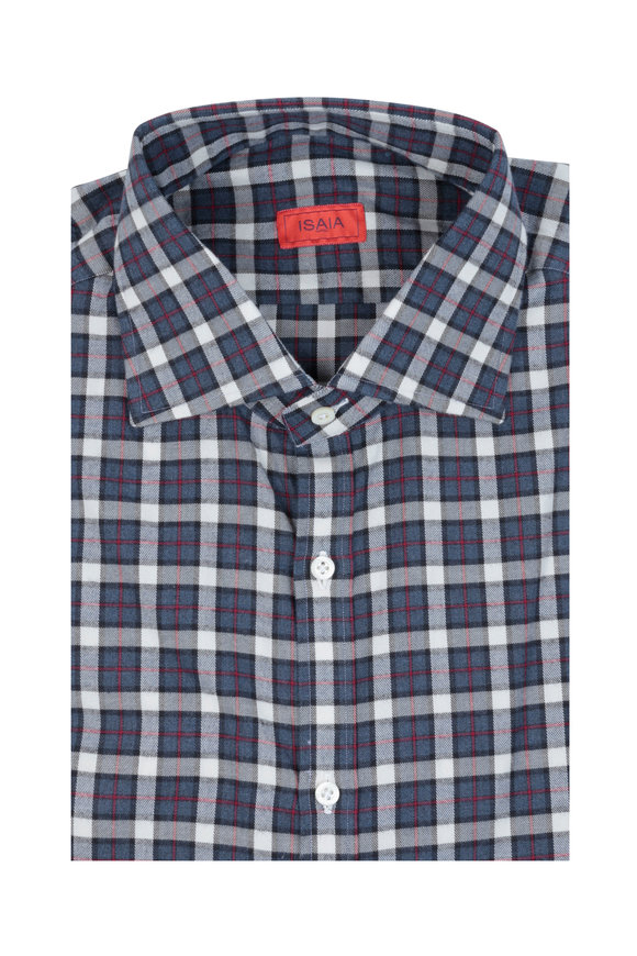 Isaia Blue & Red Plaid Sport Shirt