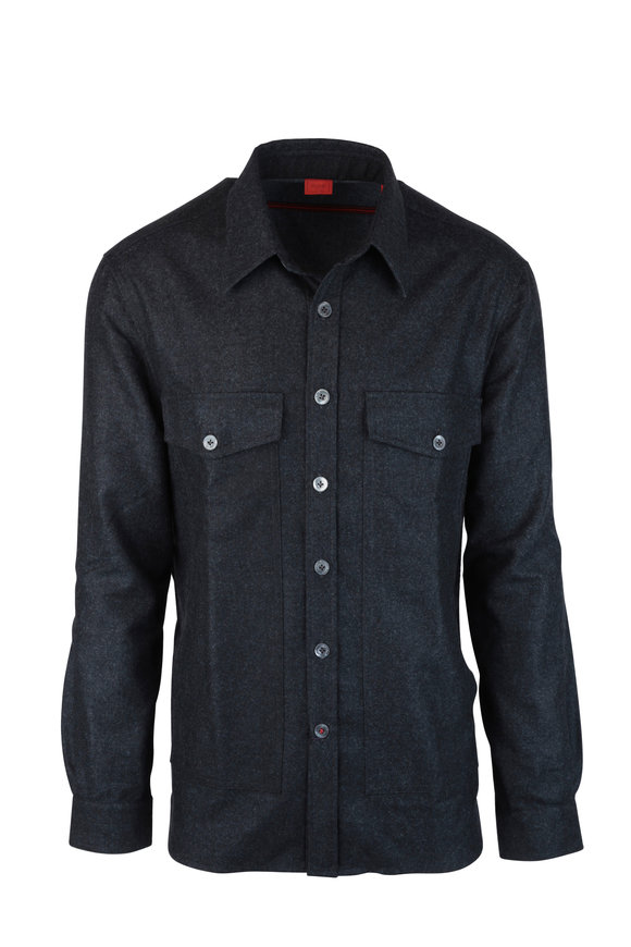 Isaia Charcoal Gray Wool Overshirt