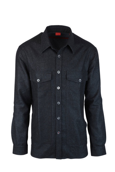 Isaia - Charcoal Gray Wool Overshirt