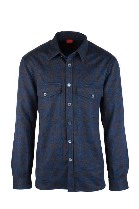 Isaia Blue Plaid Wool & Cashmere Overshirt