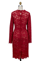 Valentino - Red Lace Bow-Back Dress