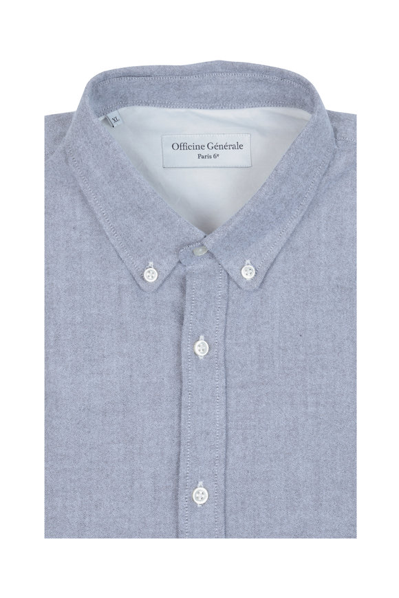 Officine Generale Gray Chambray Sport Shirt