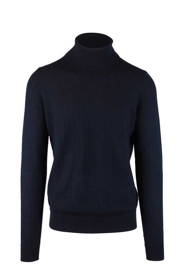 Fradi Navy Blue Chevron Knit Wool Turtleneck Sweater