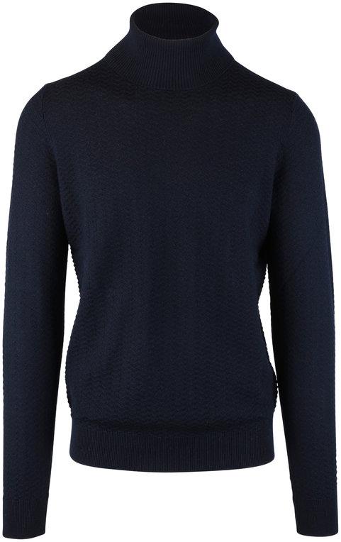 Fradi Navy Blue Chevron Knit Wool Turtleneck Sweater