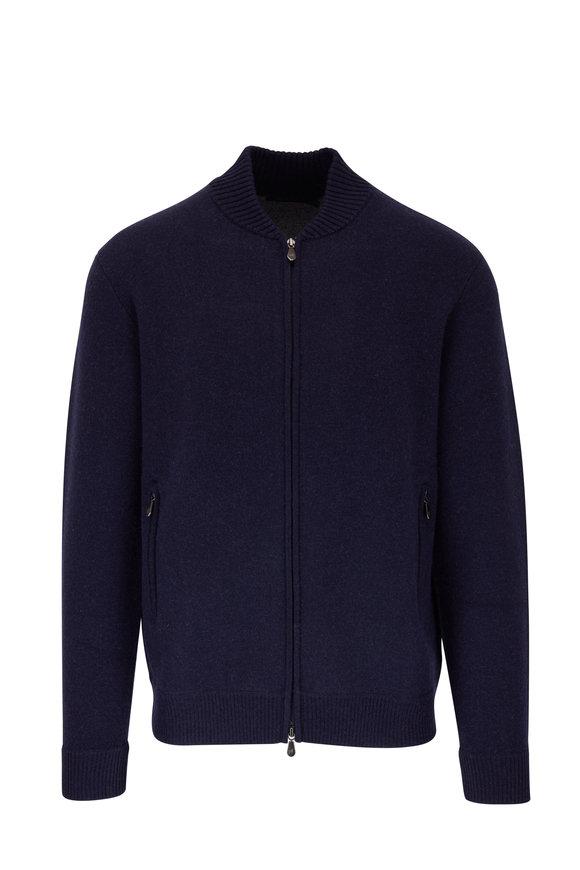 Raffi  Navy Wool & Cashmere Front Zip Cardigan