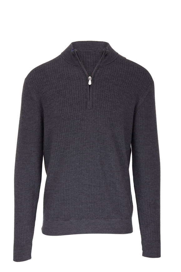 Raffi  Charcoal Wool Elbow Patch Quarter-Zip Pullover