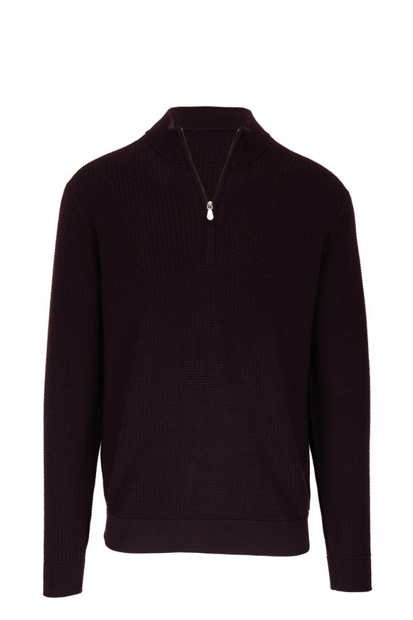 Raffi  Blackberry Wool Elbow Patch Quarter-Zip Pullover