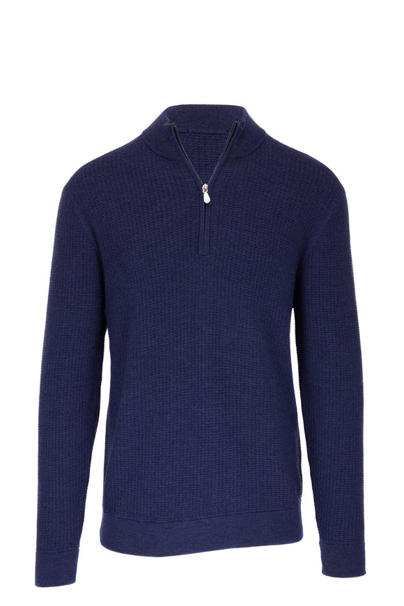 Raffi  Ocean Blue Wool Elbow Patch Quarter-Zip Pullover