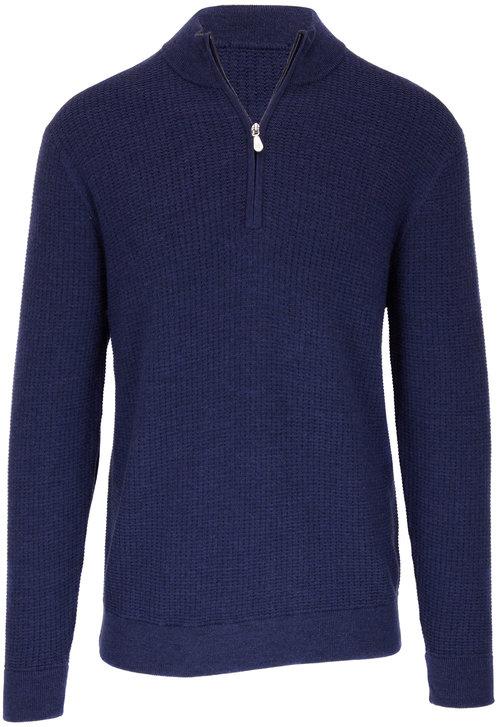 Raffi  Ocean Blue Wool Elbow Patch Quarter-Zip Pullover