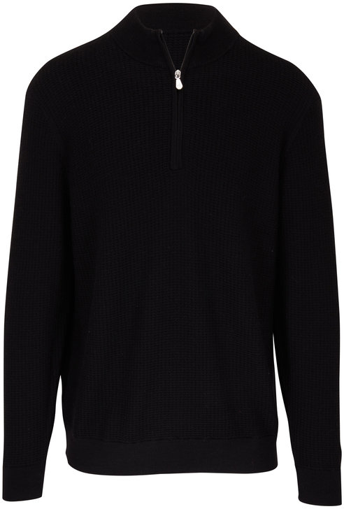 Raffi  Black Wool Elbow Patch Quarter-Zip Pullover