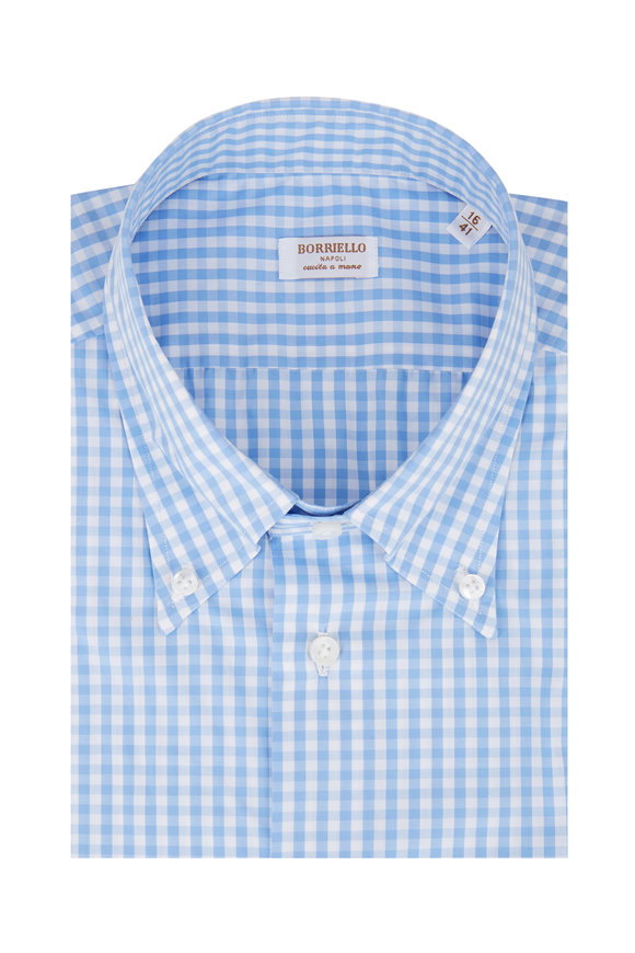 Borriello Light Blue Gingham Dress Shirt