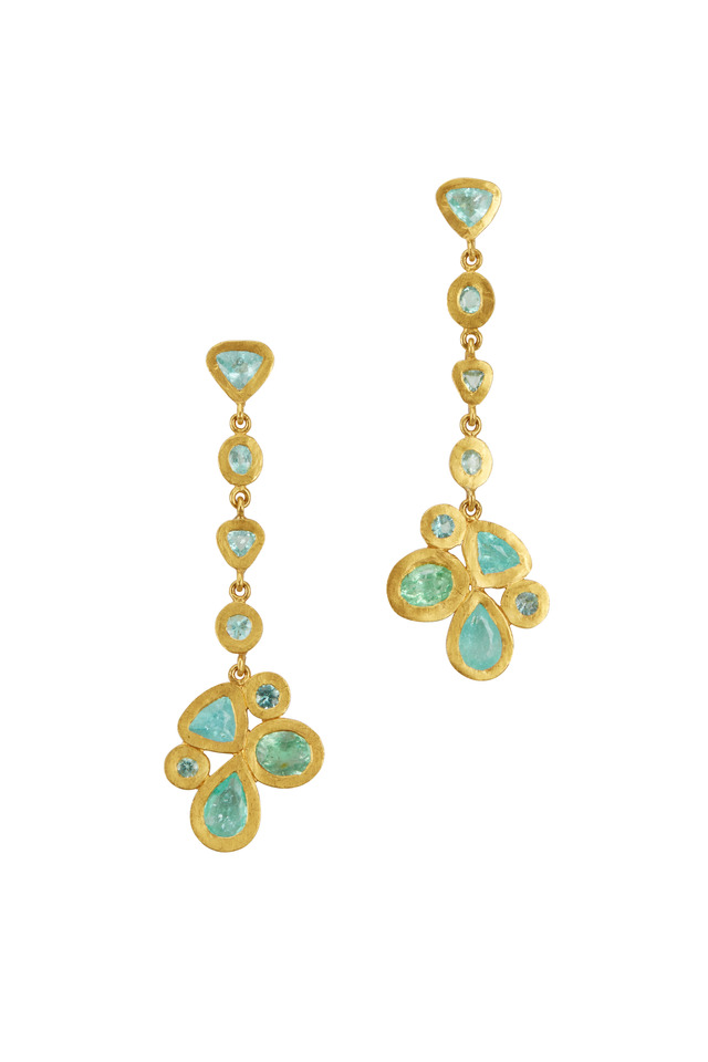 Gold Paraiba Tourmaline Butterfly Cluster Earrings