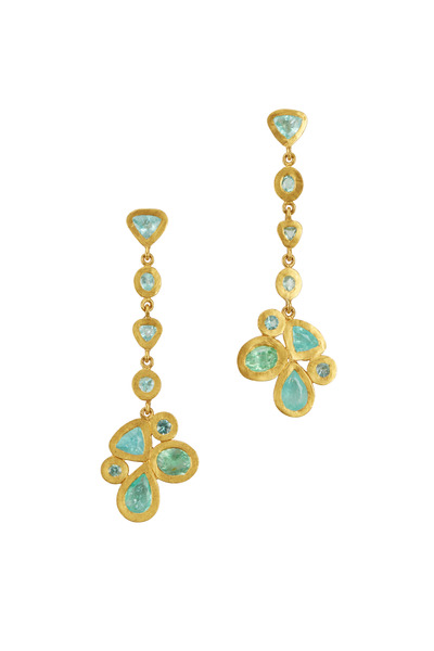Yossi Harari - Gold Paraiba Tourmaline Butterfly Cluster Earrings