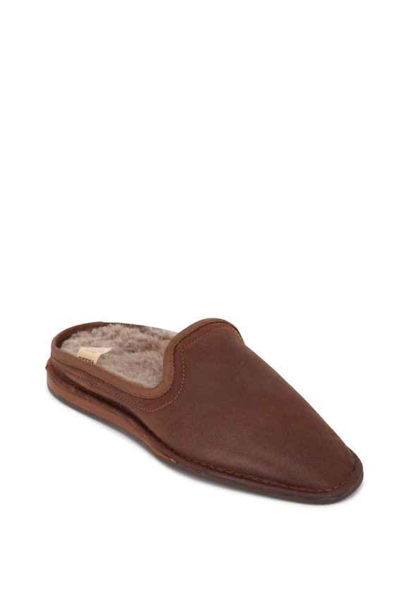 Trask Preston Brown Italian Suede Shearling Slipper