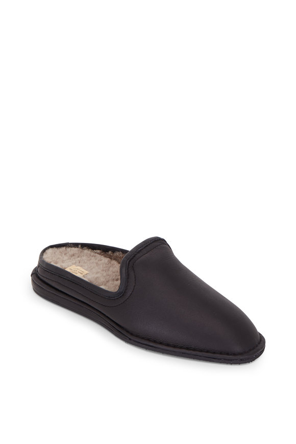 Trask Preston Black Italian Suede Shearling Slipper