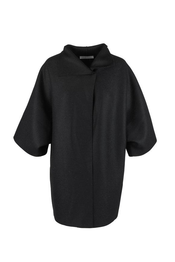 Harris Wharf Black Pressed Wool Kimono Jacket